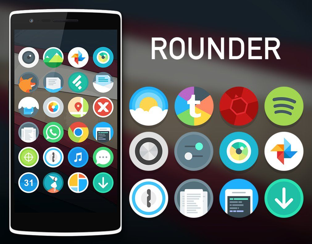DOWNLOAD Rounder is a circular icon pack flat and minimalist
