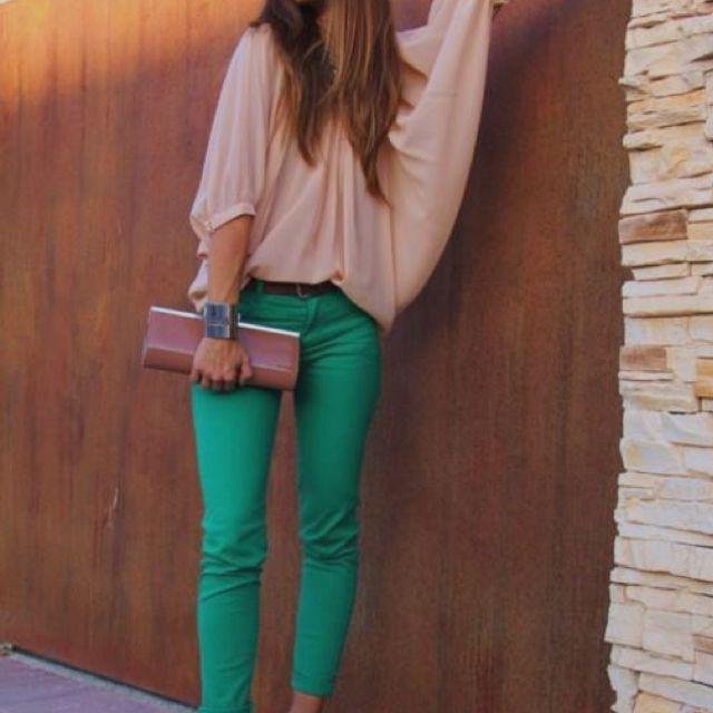 Jade green pants, oversized blouse   Summer Fashion   Pinterest ...