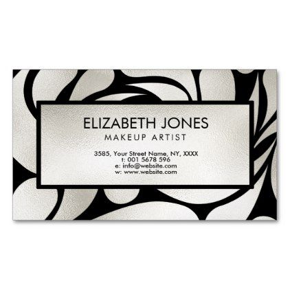 #makeup #artist #makeupartist - #Cream Platinum / Silver Swirl  Pattern on Black Magnetic Business Card