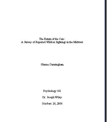 mla format title page template
