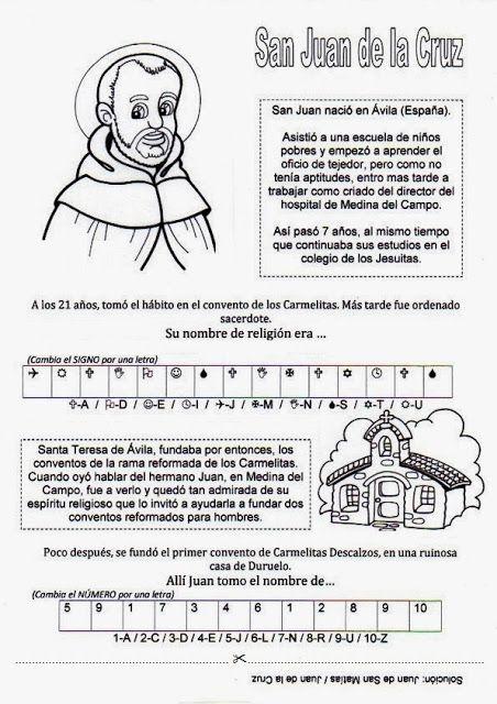 El Rincon De Las Melli Breve Historia De San Juan De La Cruz Con Juego San Juan De La Cruz Temas De Catequesis Vidas De Santos