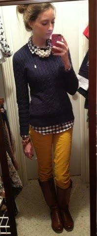 don't usually like that color yellow but these pants are cute plus i like the sweater with the shirt under it so much!!!