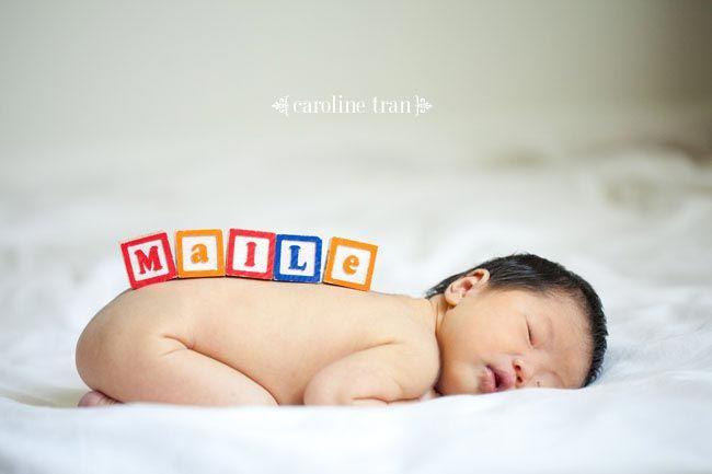 Baby name blocks photo idea