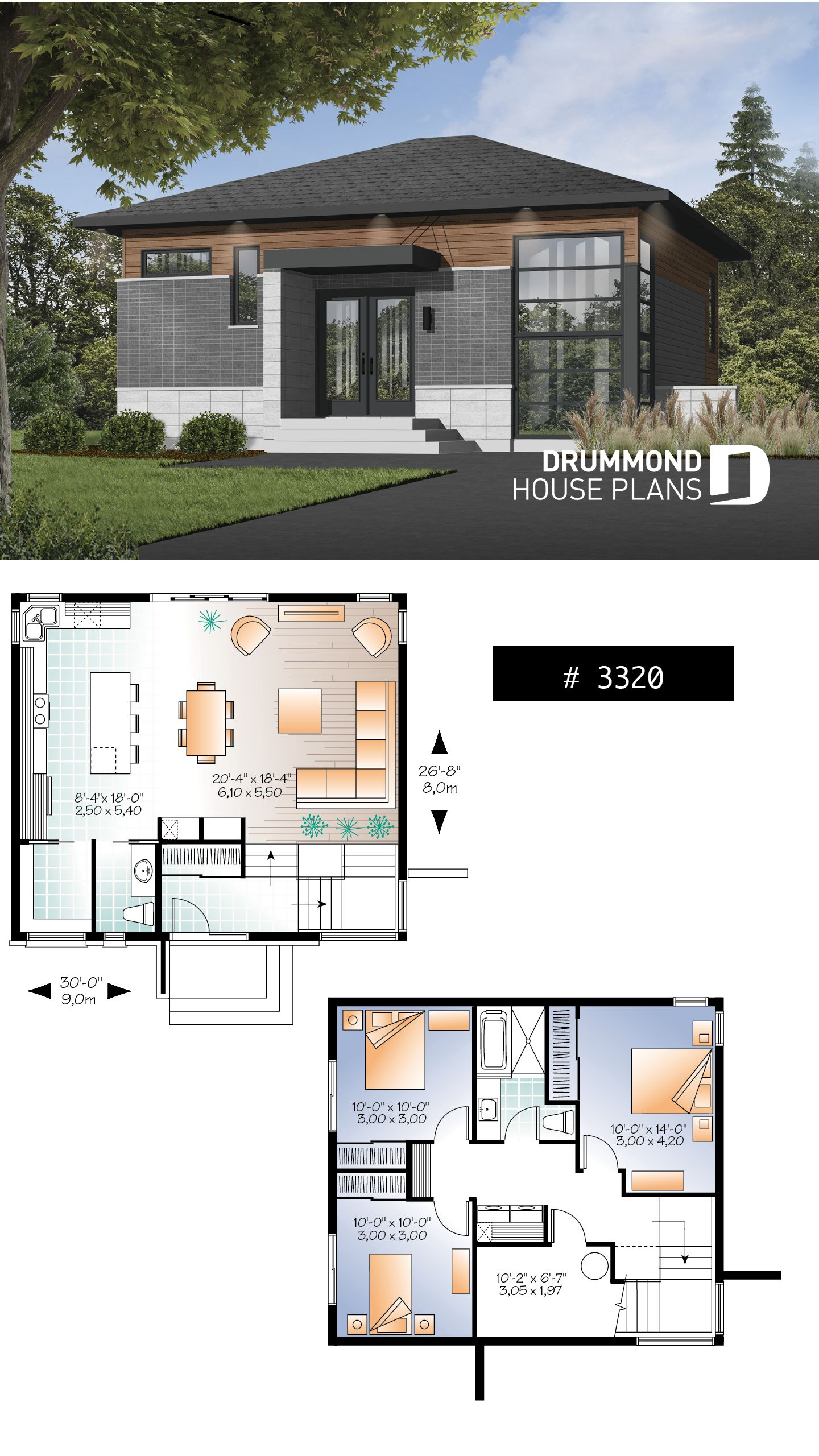 Small 3 bedroom budget conscious modern house plan, open