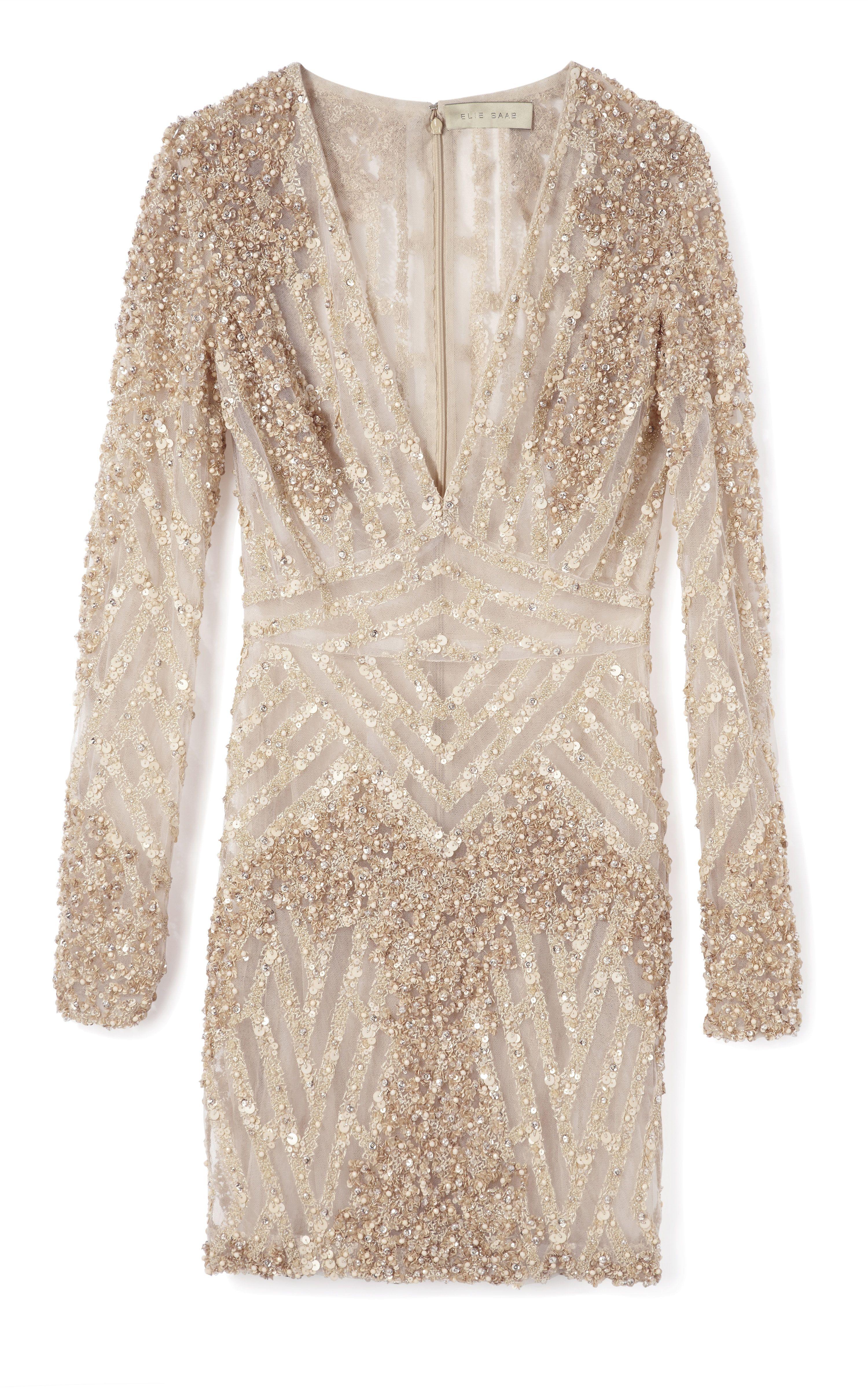 Elie Saab: Vanilla Fully Embroidered Mini Dress