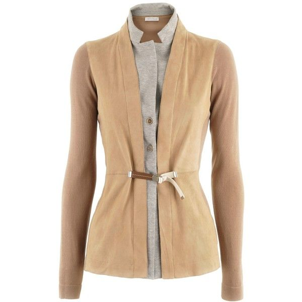 Fabiana Filippi Camel Leather Cardigan Fugy (14 800 UAH) ❤ liked on Polyvore featuring tops, cardigans, sweaters, women, beige cardigan, cardigan top and beige top