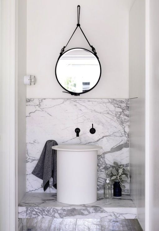 Charming Via Design Files   Amazing Bathroom With Black Leather Captainu0027s Mirror  Hanging Over White Vessel Sink