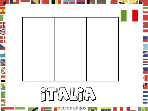 Niños De Paises Para Pintar: Bandera De Italia. Dibujos De Banderas Para Pintar