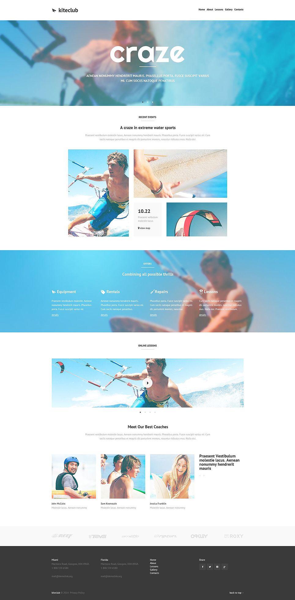 Kiteboarding Club Website Template Design Pinterest Template
