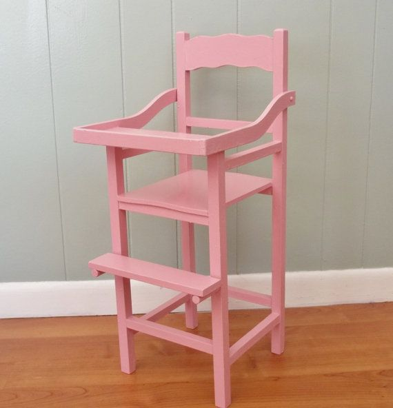 Wooden wood doll highchair is an upcycled vintage high chair painted bubble  gum pink, pretend - Wooden Wood Doll Highchair Is An Upcycled Vintage High Chair