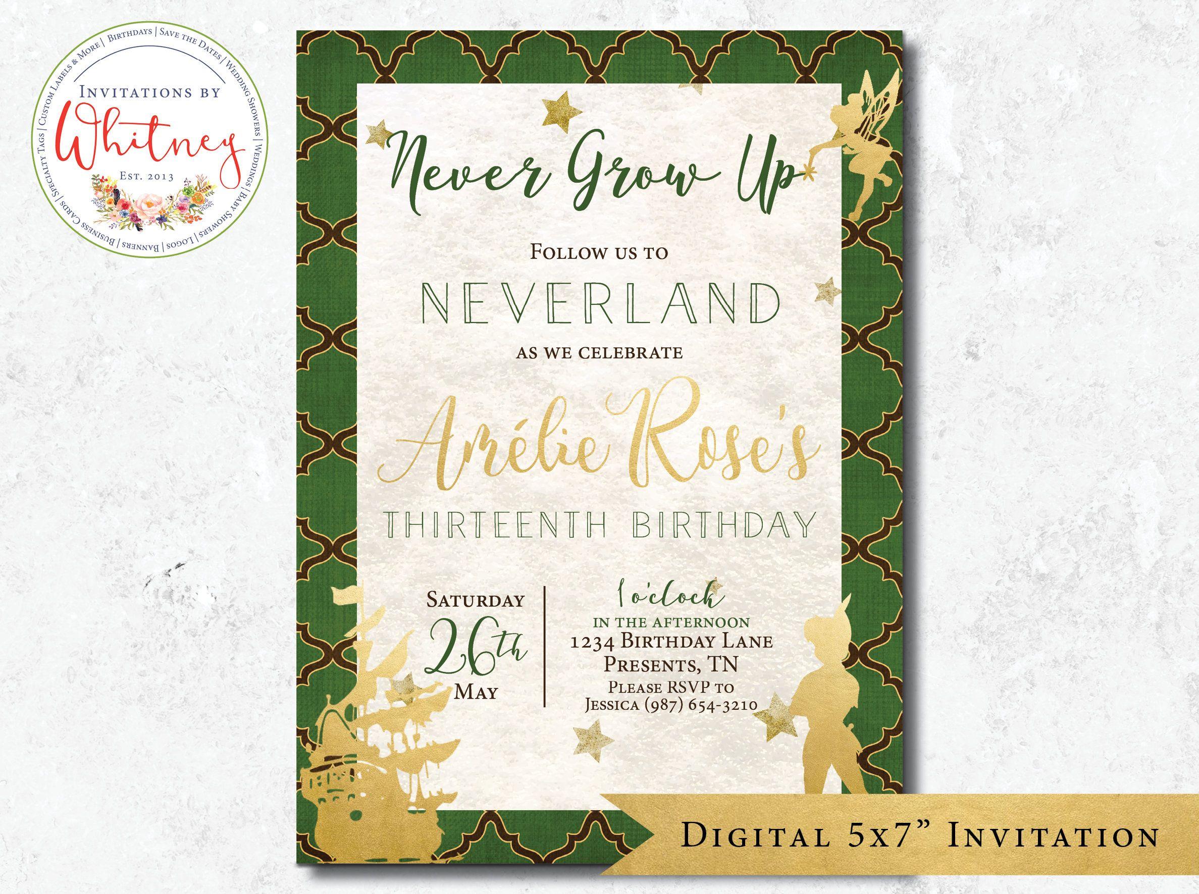 Never Grow Up Invitation Neverland Peter Pan