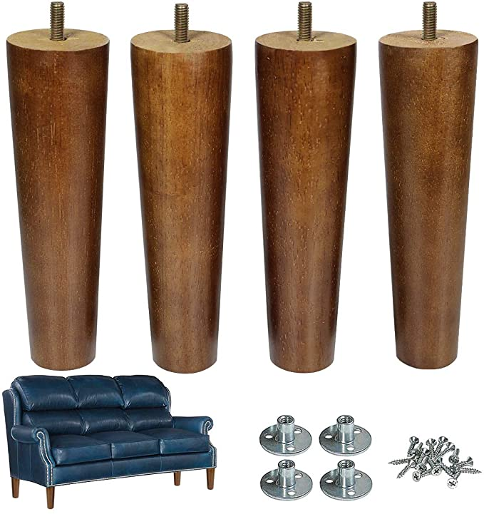 Aoryvic Furniture Leg Sofa Legs Wood 8 Inch Midcentury Walnut Color Chair Legs Replacement 5 16 Inch Bolt Set Of 4 A In 2020 Furniture Legs Chair Legs Colorful Chairs
