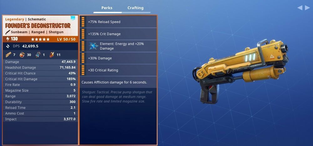 Fortnite STW Founder's Deconstructor 130 God Roll Max Perks PC PS4