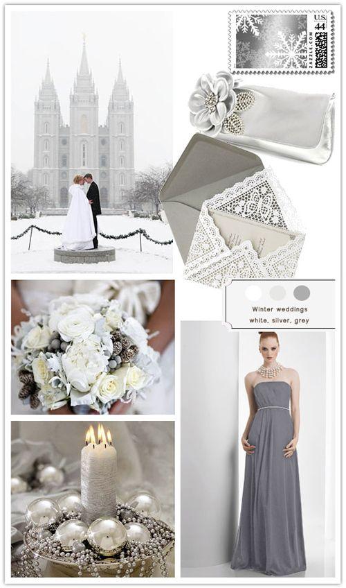 Winter Wonderland Wedding Ideas Silver And White Winter Wedding Grey Winter Wedding Wedding Themes Winter Wonderland Wedding