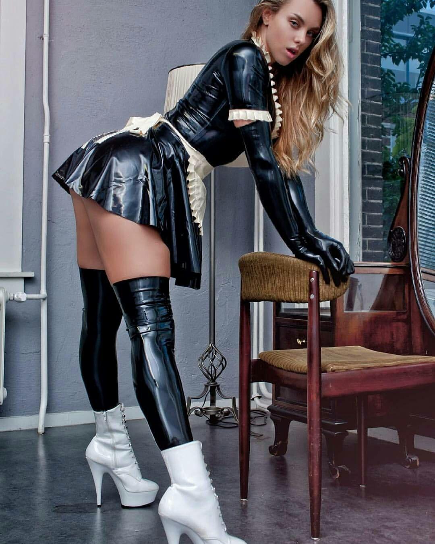 Sexy black latex maid uniform latex thigh stockings white ankle boots  Maids, Fetish Fashion,
