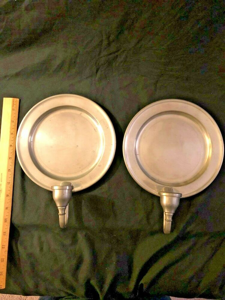 Vintage Pair Colonial Style Woodbury Pewter Candle Holder Wall Sconces 8 Wall Mounted Candle Holders Pewter Candle Holders Wall Candle Holders