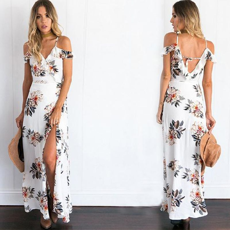 4e31fcd2e1d7d 2017 Summer Dress Women Sexy Strap Cold Shoulder Floral Ruffle Long ...