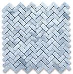 Herringbone Bianco Carrara Italian Marble Mosaic at 25% off!  #12daysofmosaics Shower floor