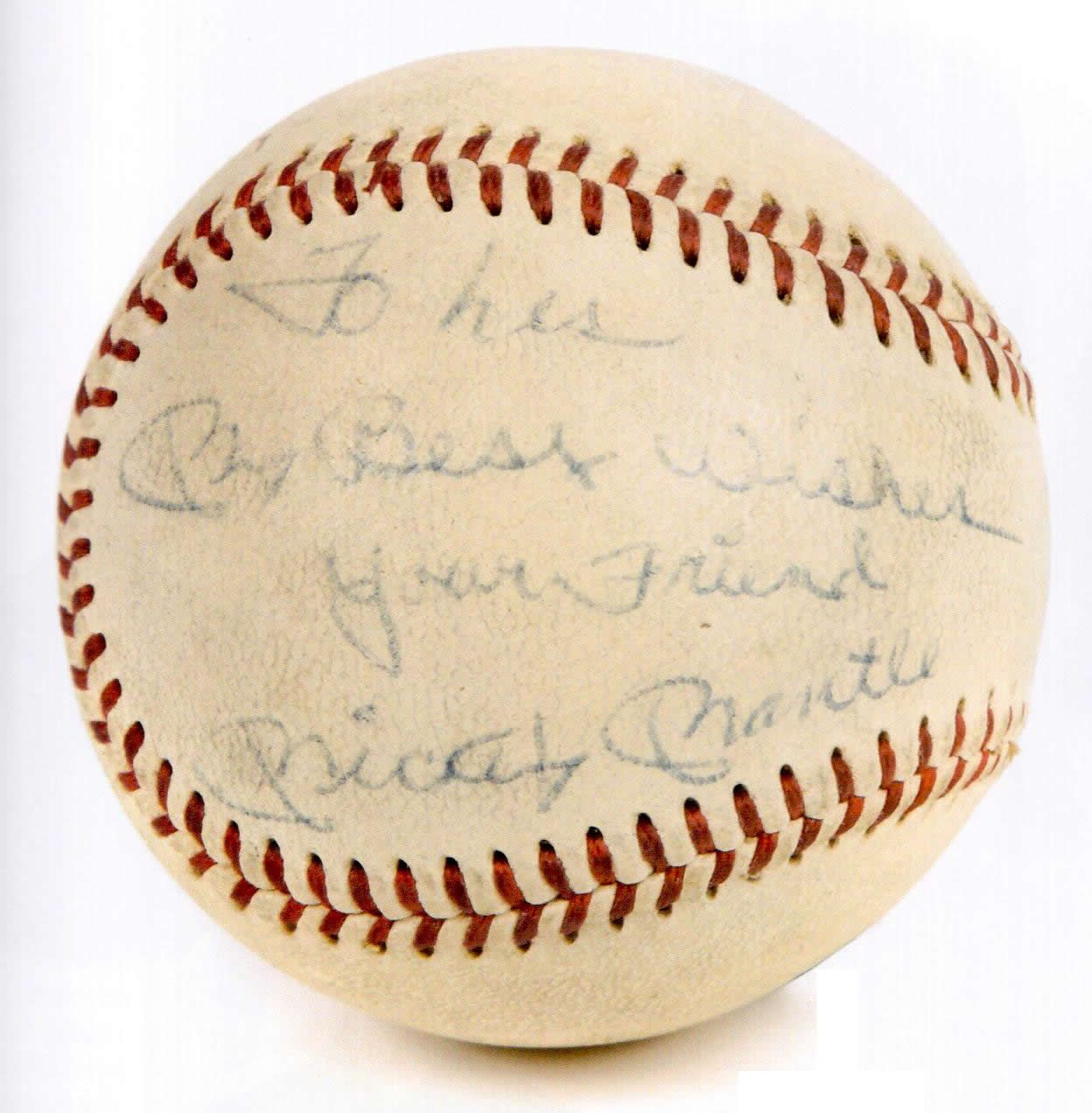 Baseball Signed By Mickey Mantle To Les My Best Wishes Your Friend Mickey Mantle Baseball Signs Mickey Mantle I Am Awesome