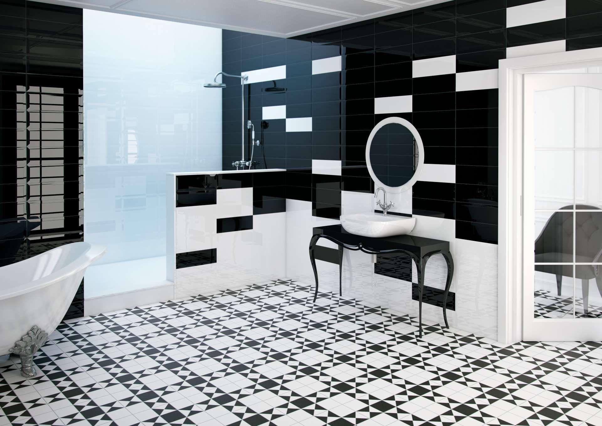 Glazed Porcelain Victorian Style Floor Tiles In 4 Colour