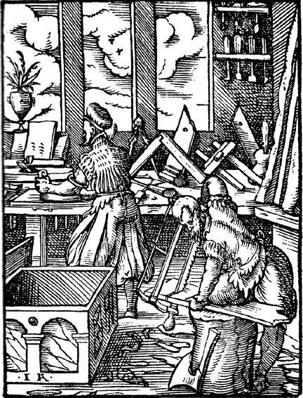 Medieval Woodworkers Der Schreiner From The Standebuch By Jost