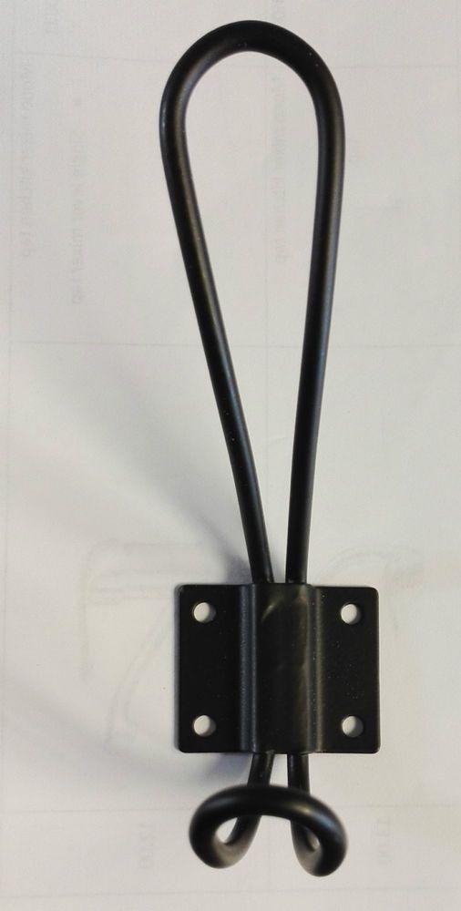 5 x Black Wire Loop Coat Metal Hooks Hook Vintage Wall Clothes ...
