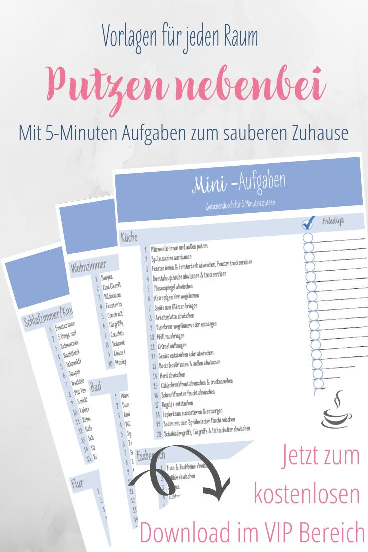 Putzenplan Fur Nebenbei Mit 5 Minuten Vorlage Haushalts Ordner Putzplan Haushaltstipps