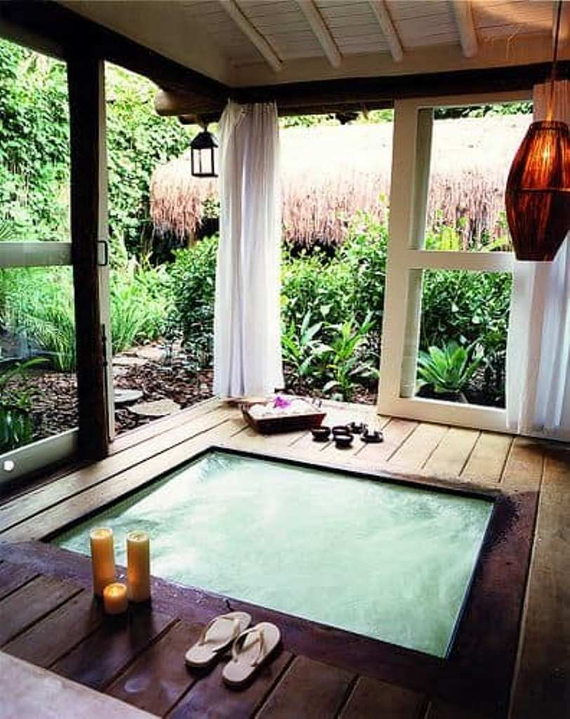 8 Sophisticated Outdoor Jacuzzi Designs For More Stunning Relaxing Time Talkdecor Hot Tub Room Indoor Hot Tub Hot Tub Designs