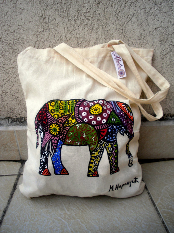 This hand painted elephant bag is Artwork painted- Not a print! ~ - Painted  with textile acrylic colors. Fixed so colors wont come off. 6d7c474ab9