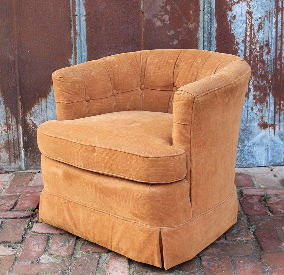 Beautiful Vintage Hollywood Regency Tufted Barrel Arm Chair By Drexel Mid Century  60u0027s 70u0027s Tub Retro Swivel