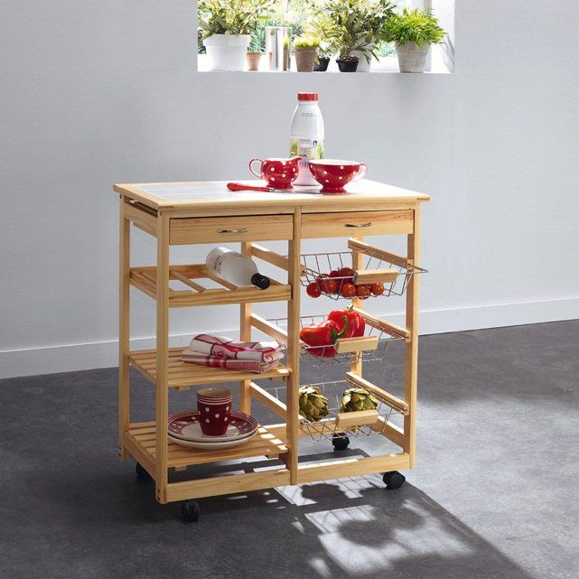 Kitchen Trolley with Tiled Top La Redoute Interieurs