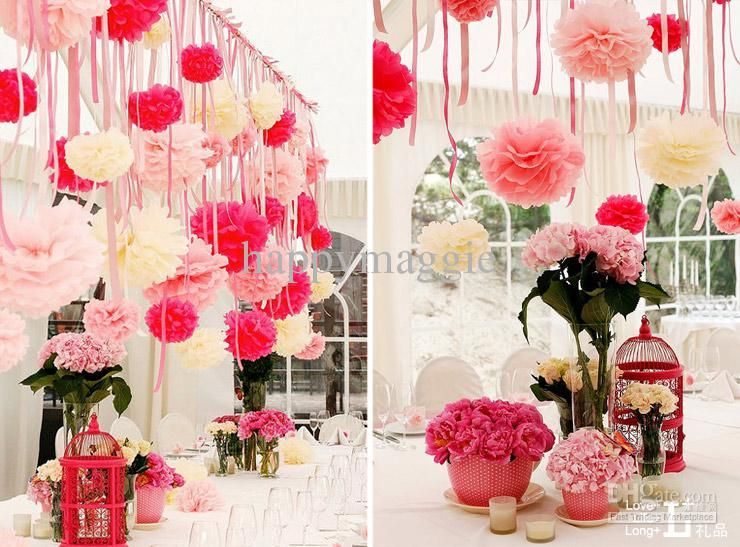 Wholesale wedding decorations buy wedding decorations colorful wedding decorations colorful 25cm pom flower balls tissue paper flower wedding favors party flower ball home decoration wedding reception flower mightylinksfo Choice Image