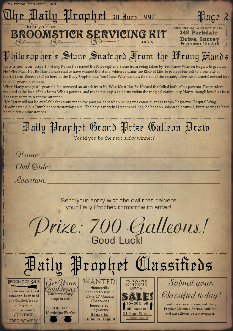 image about Printable Harry Potter Book Pages named The Everyday Prophet website page 2 MINIATURE - HALLOWEEN Harry