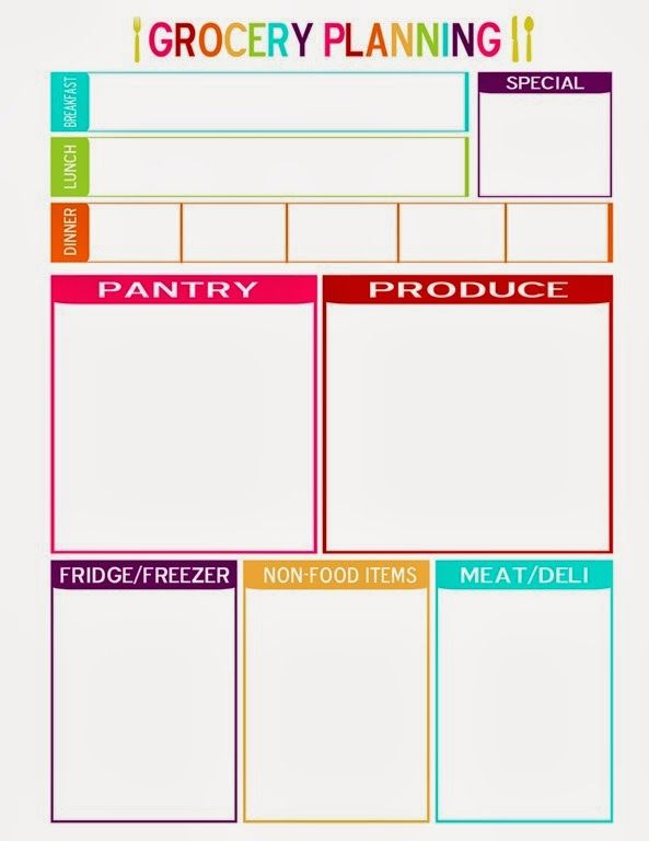 Grocery Planning With Special Box  Papers  Printables