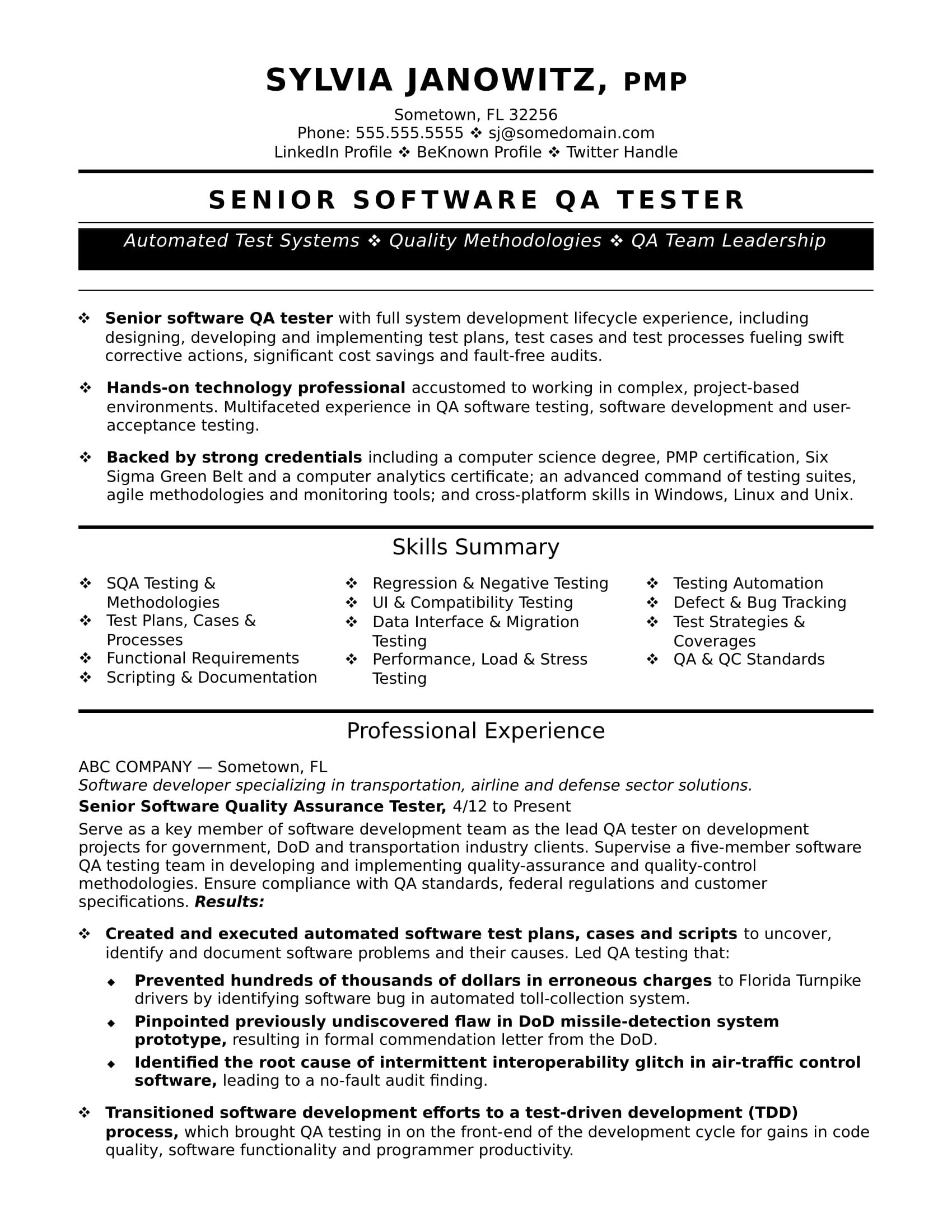 Qa Sample Resume For Qa Tester  Sample Resume Sample Resume Templates And Template