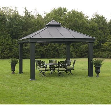 This Is A Large And Luxurious Pergola For Your Backyard Enjoyment. New  Outdoor Metal Hardtop Gazebo X X Canopy Patio Grill Pergola Kits