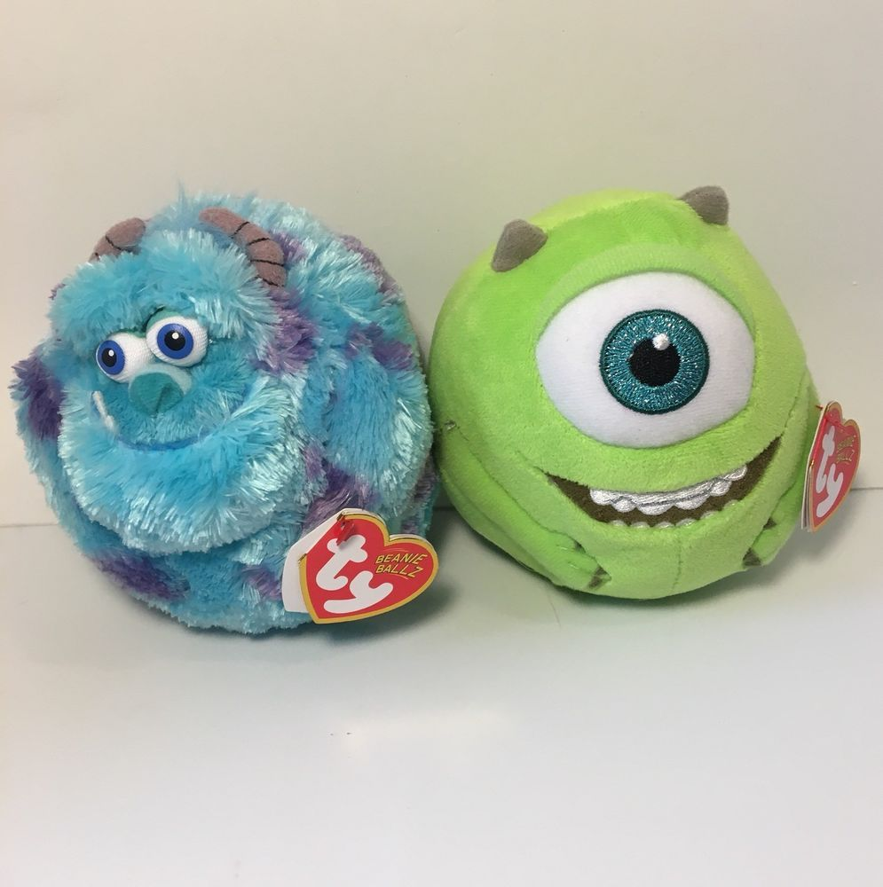 """5a454161200 Monsters Inc TY Sulley And Mike Plush Disney Pixar 9"""" Beanie Balls  Collectible"""