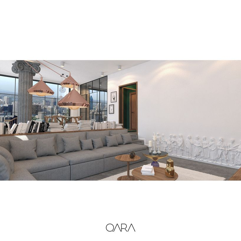 Apartment interior design with glass facade system. Kitchen with glass doors. Living Room's elevation at a difference level splits it from the other section. Reliefs on the wall.  www.qara.work