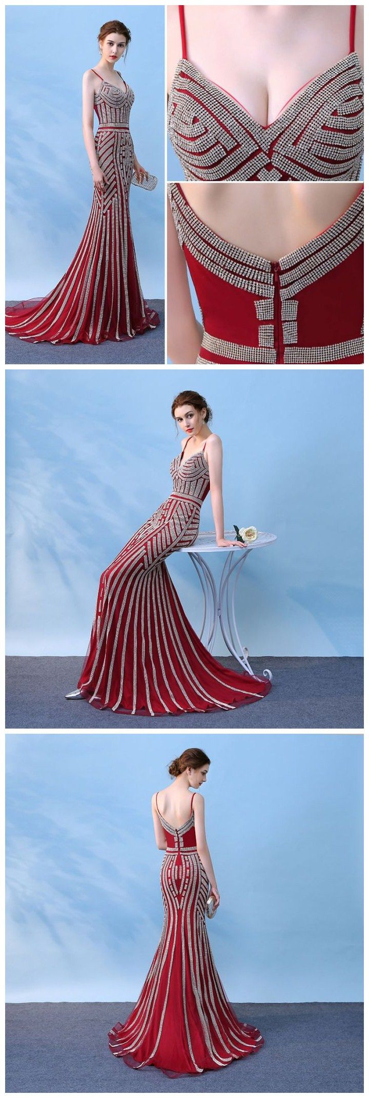 Mermaid spaghetti straps burgundy long prom dress chic evening party