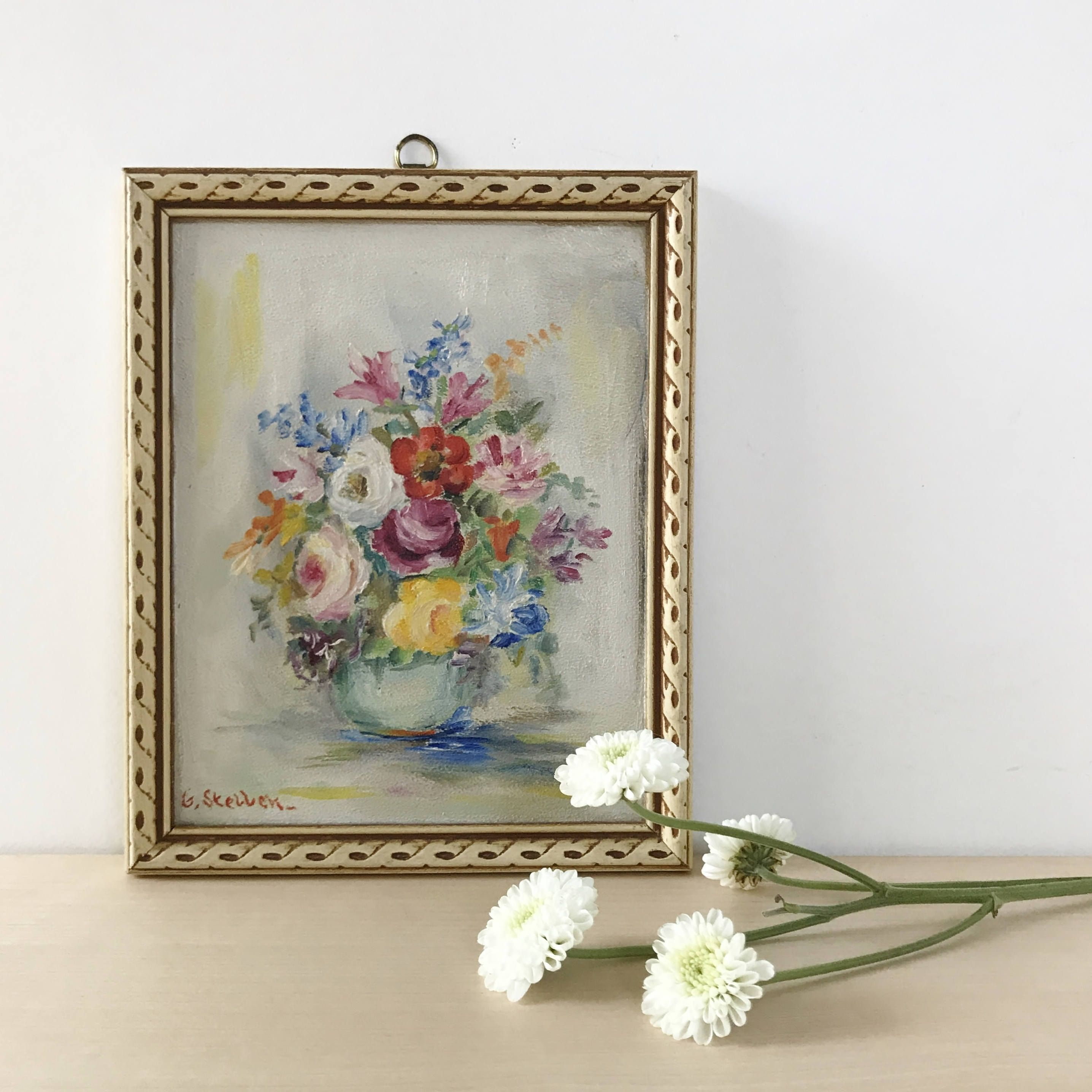 Small Framed Floral Still Life Original Painting | Floral Wall Art ...