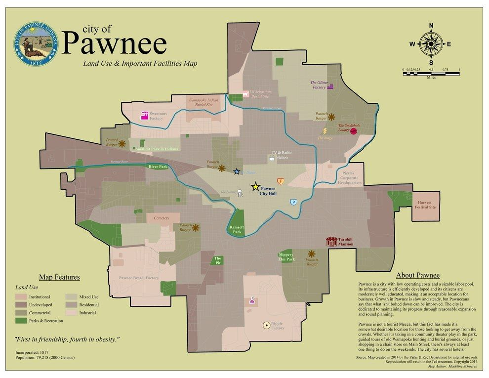 This town map of Parks & Recreation's Pawnee. | Random | Map ... Map Of Pawnee Villages on map of athabascan, map of del city, map of cahuilla, map of timucua, map of hitchcock, map of watonga, map of lenape, map of carter, map of fossil ridge, map of kincaid, map of liberal, map of snyder, map of mangum, map of pauls valley, map of jenks, map of the shoshone, map of ohlone, map of skidmore, map of inola, map of springfield township,