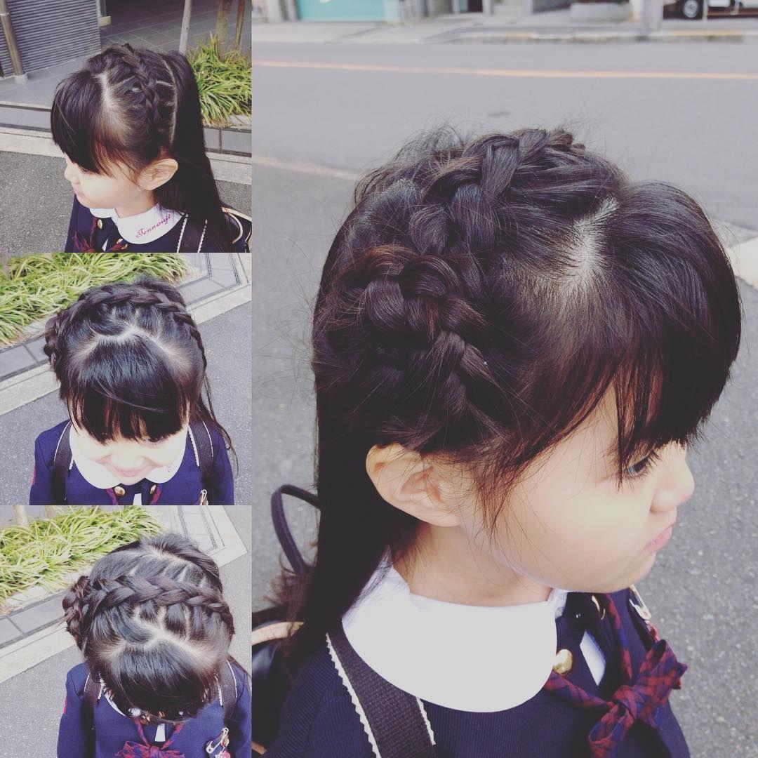 今日はお花 編み込み 子供ヘアアレンジ 子供の髪型