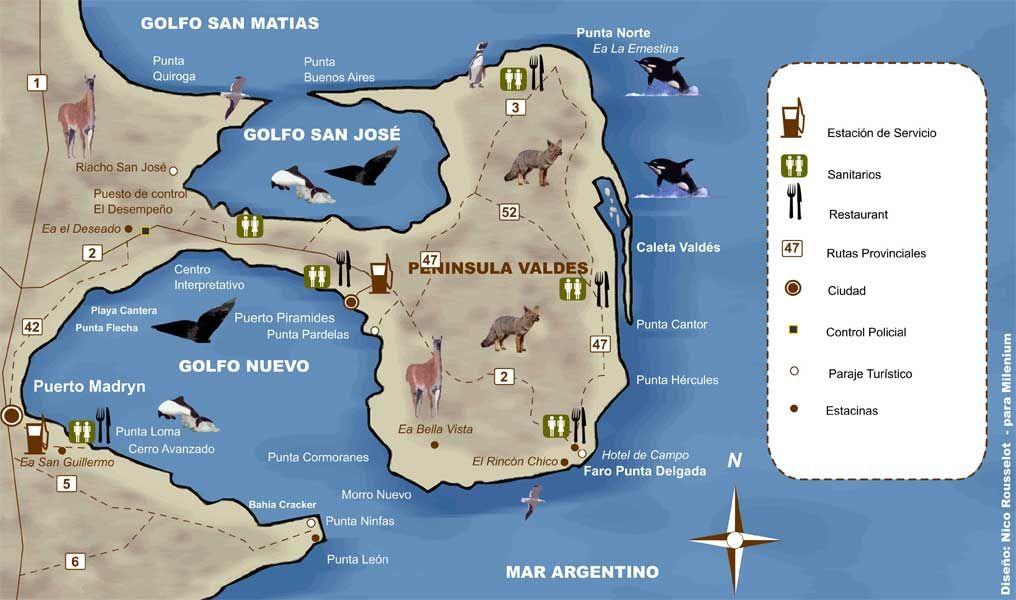 Mapa Península Valdés Puerto Madryn Pinterest Argentina - Argentina map puerto madryn