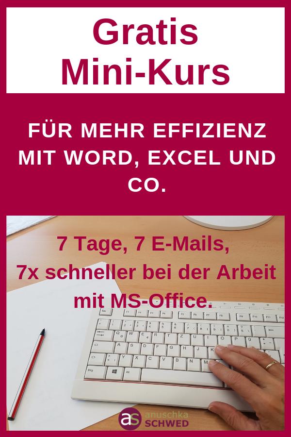 Du möchtest endlich schneller und einfach mit Word, Excel, PowerPoint und Outlook arbeiten? Dann starte jetzt mit dem gratis Mini-Kurs: 7 Tage, 7 E-Mails, 7x schneller bei der Arbeit mit MS-Office.
