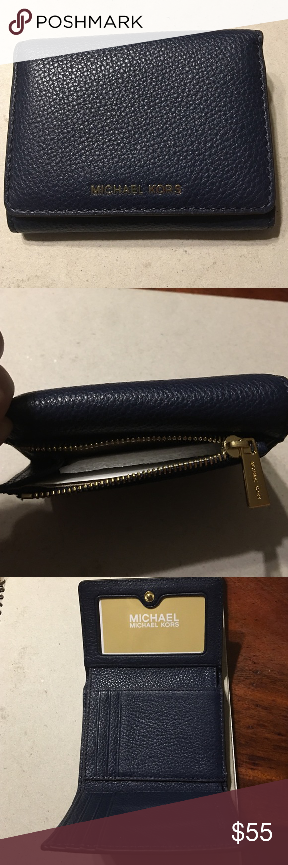 e385ae258420 MICHAEL KORS LIANE SMALL BILLFOLD Leather Navy Blue, Exterior Gold-tone  Logo on Front