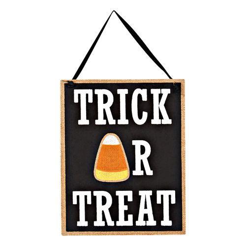 Perfect for your door or desk! Trick or Treat Corn Plaque, 8\ - halloween desk decorations