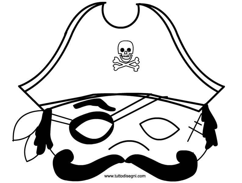 Maschera Pirata Da Colorare E Ritagliare Tuttodisegni Com Maschera Carnevale Maschere