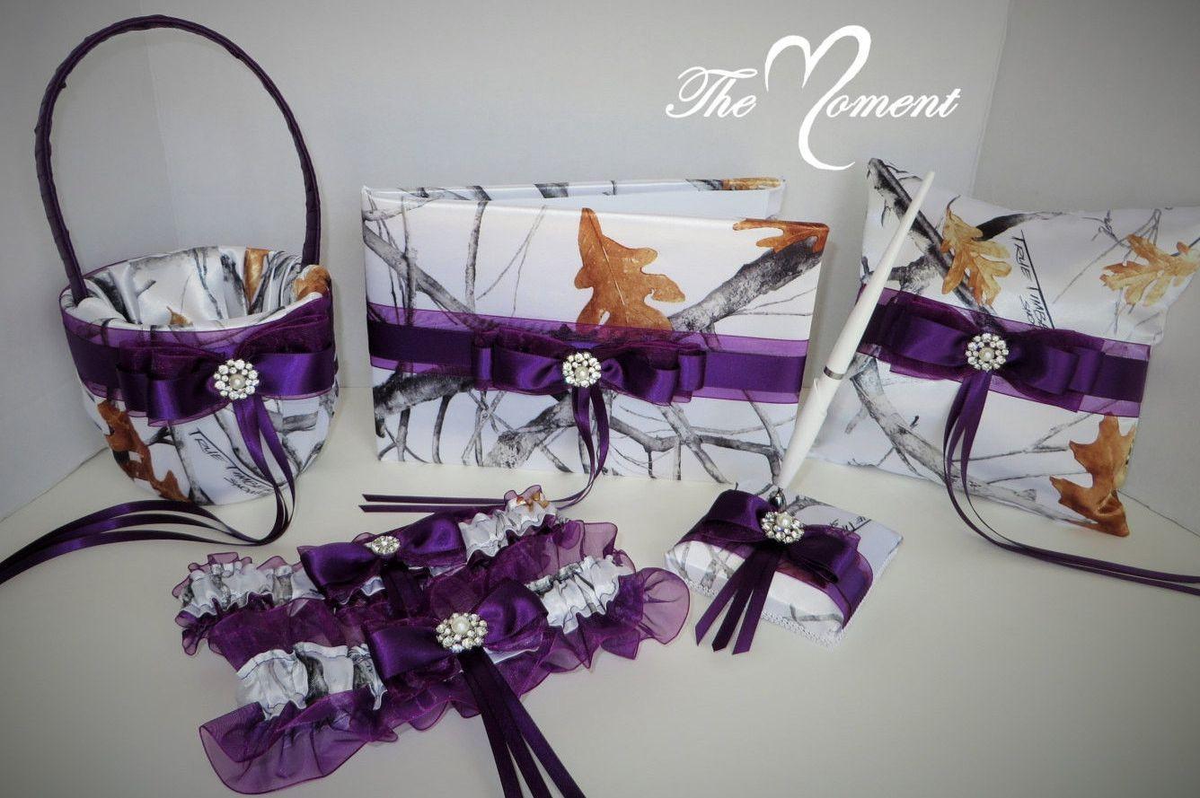 True Timber White Camo Wedding Set With Plum Purple Bows Camo