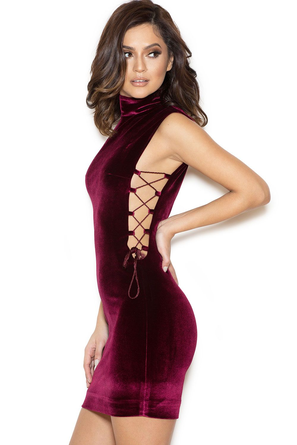 Clothing : Bodycon Dresses : \'Sukina\' Wine Red Side-Boob Lace Up ...