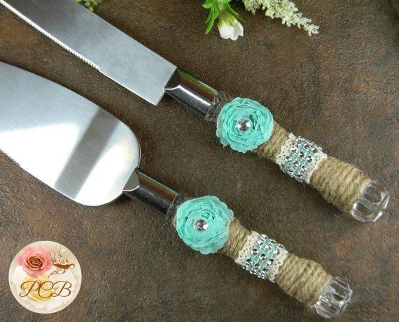 Rustic Wedding Cake Knife Set Tiffany Blue By Prettycountrybridal